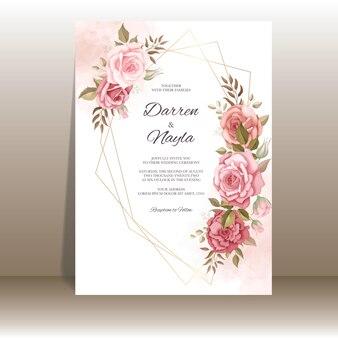 Belle carte d'invitation de mariage avec décoration rose