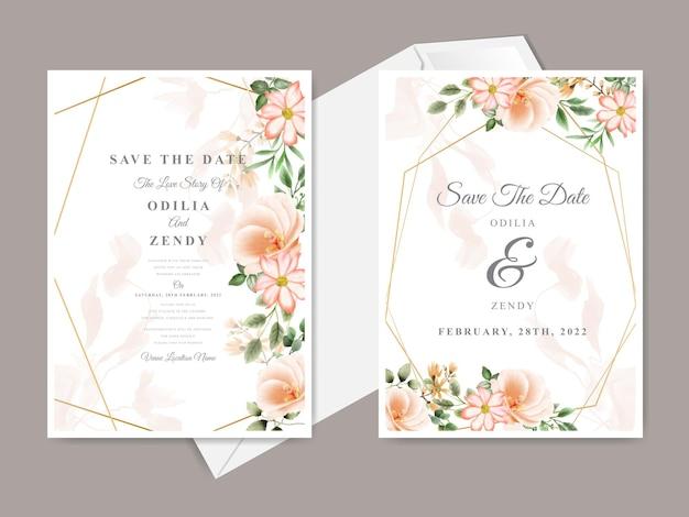 Belle carte d'invitation de mariage dessiné main floral