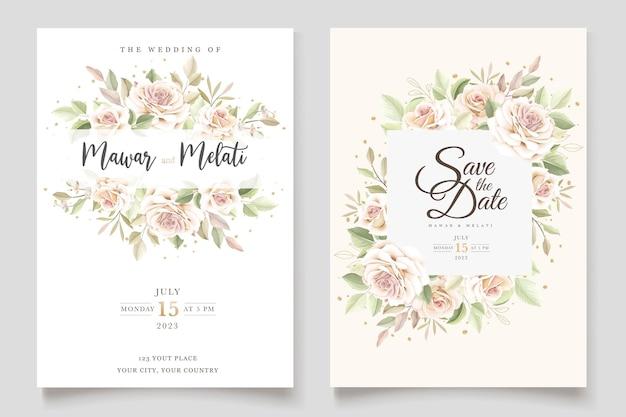 Belle carte d'invitation de mariage avec un ensemble floral élégant