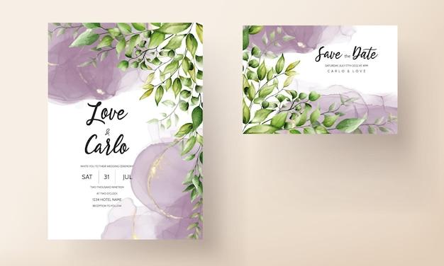 Belle carte d'invitation de mariage de feuille d'aquarelle avec de l'encre d'alcool