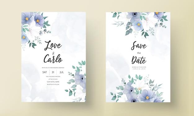 Belle carte d'invitation de mariage avec fleur bleue
