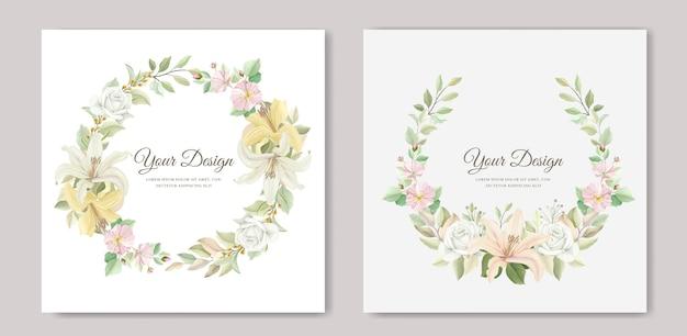 Belle carte d'invitation de mariage fleur de lys