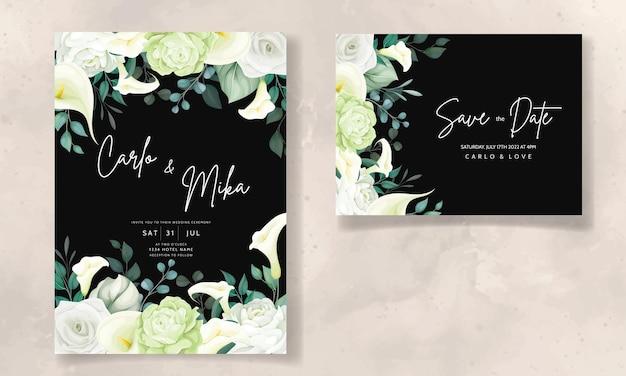 Belle carte d'invitation de mariage de fleur de rose et de lys calla dessinés à la main