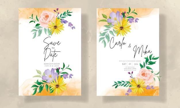 Belle carte d'invitation de mariage de fleurs sauvages