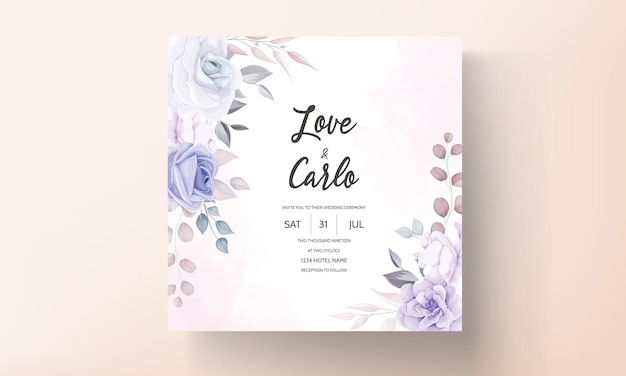 Belle carte d'invitation de mariage avec des fleurs violettes