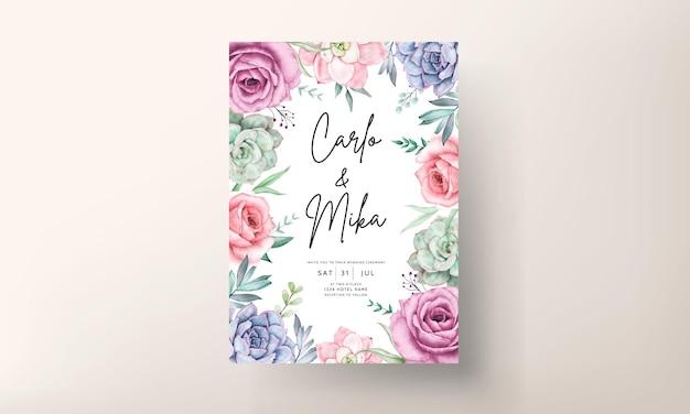 Belle carte d'invitation de mariage floral aquarelle avec roses et plantes succulentes