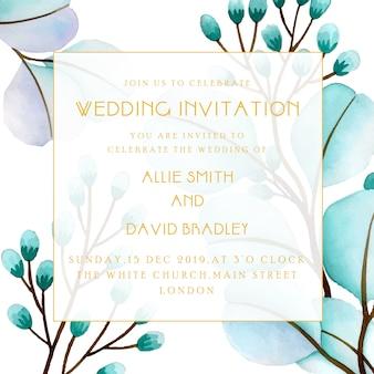 Belle carte d'invitation de mariage floral d'aquarelle