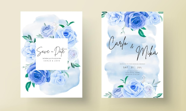Belle carte d'invitation de mariage floral bleu