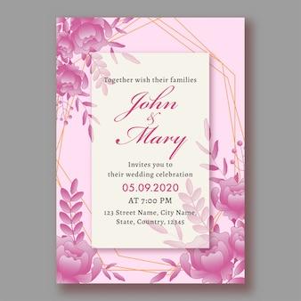 Belle carte d'invitation de mariage floral en couleur rose et blanche avec des détails de lieu.