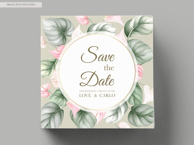 Belle carte d'invitation de mariage floral dessiné à la main