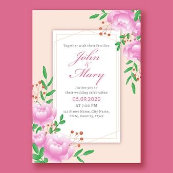Belle carte d'invitation de mariage floral avec détails de l'événement.