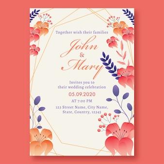 Belle carte d'invitation de mariage floral avec des détails de lieu.