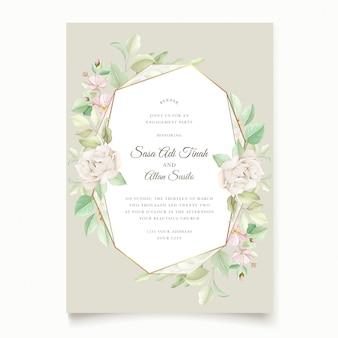 Belle carte d'invitation de mariage floral doux et feuilles