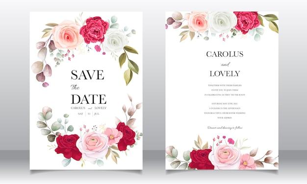 Belle carte d'invitation de mariage floral et feuilles