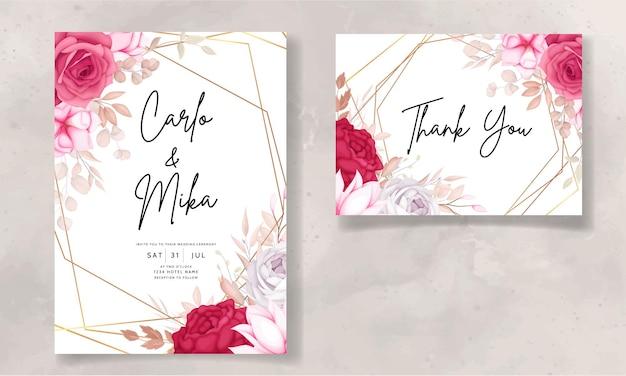Belle carte d'invitation de mariage floral marron et marron