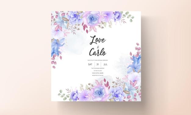 Belle Carte D'invitation De Mariage Floral Rose Et Bleu Doux Vecteur Premium