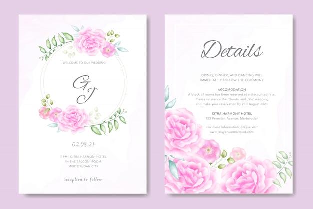 Belle carte d'invitation de mariage floral rose