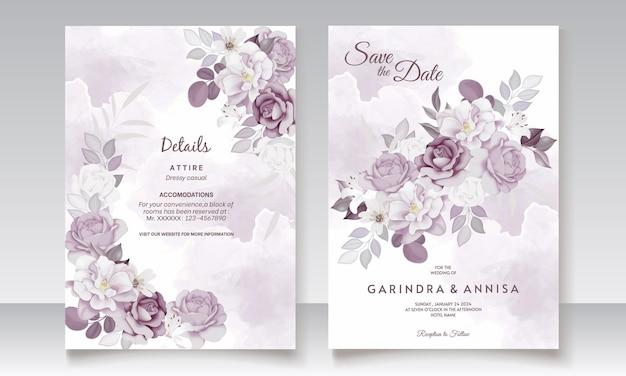 Belle carte d'invitation de mariage floral violet