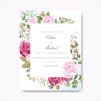 Belle carte d'invitation de mariage floral