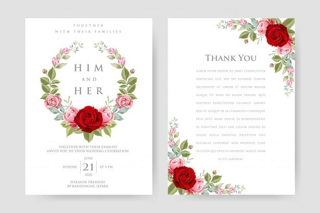 Belle carte d'invitation de mariage avec modèle floral et feuilles