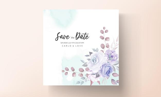 Belle carte d'invitation de mariage avec ornement fleur pourpre