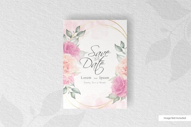 Belle carte d'invitation de mariage avec splash floral et aquarelle