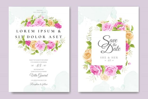 Belle carte d'invitation avec modèle coloré floral et feuilles