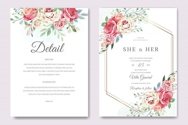 Belle carte d'invitation avec modèle de couronne florale