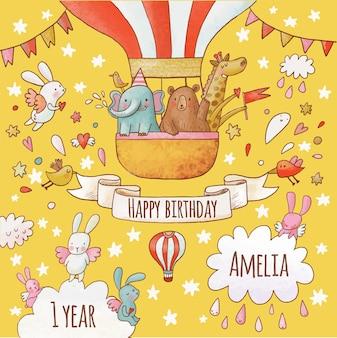 Belle carte de joyeux anniversaire aux couleurs vives de l'été animaux doux éléphant ours et girafe