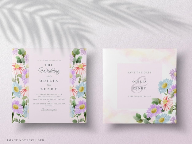 Belle carte de mariage aquarelle florale