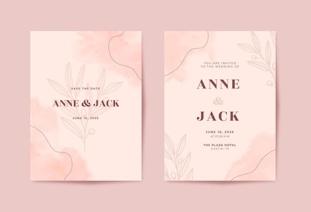 Belle carte de mariage aquarelle minimaliste