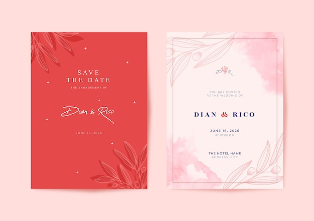 Belle carte de mariage aquarelle rose