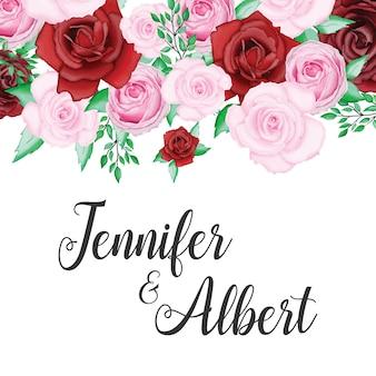 Belle carte de mariage avec aquarelle