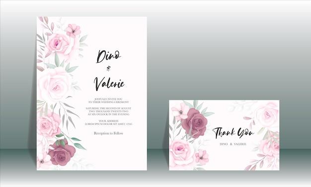 Belle carte de mariage avec de belles fleurs douces