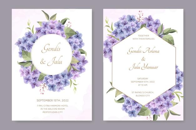 Belle carte de mariage de cadre avec fleur d'hortensia