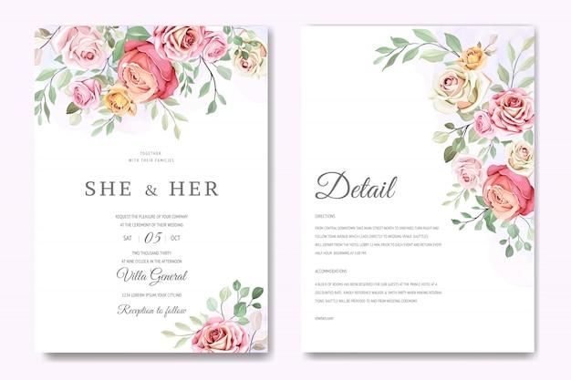 Belle carte de mariage dans le modèle de roses élégantes