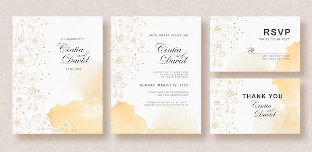 Belle carte de mariage avec éclaboussures de couleur orange et fond de fleurs