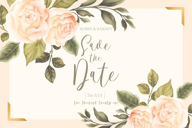 Belle carte de mariage floral avec pivoines pêche
