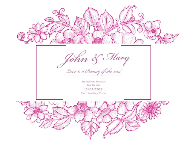 Belle carte de mariage floral rose décoratif