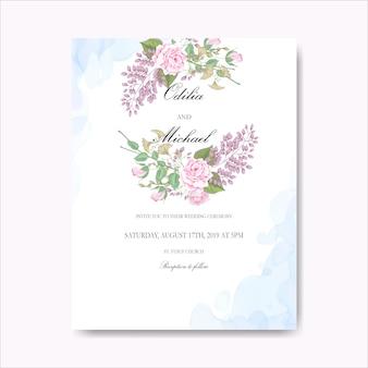 Belle carte de mariage floral