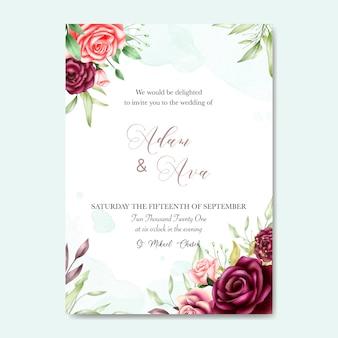 Belle carte de mariage avec fond aquarelle
