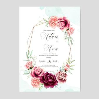 Belle Carte De Mariage Avec Fond Aquarelle Vecteur Premium