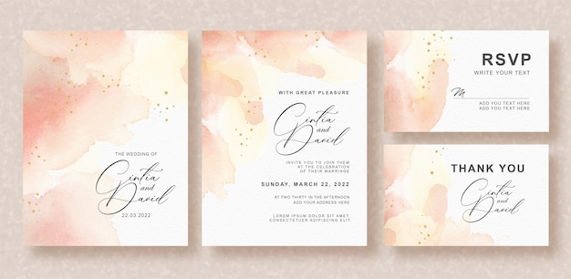 Belle carte de mariage avec fond de couleur pêche splash