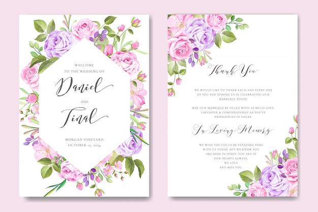 Belle carte de mariage et d'invitation avec cadre floral et feuilles