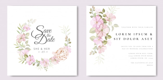 Belle carte de mariage avec modèle floral et feuilles
