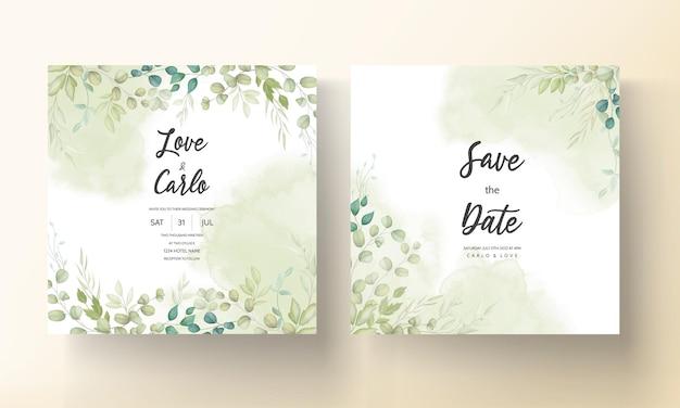 Belle carte de mariage avec motif de feuilles décoratives