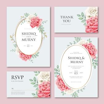 Belle carte de mariage sertie de feuilles et de fleurs roses