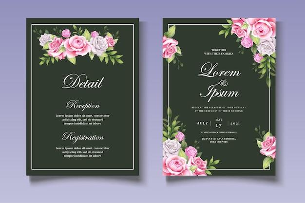 Belle carte de mariage sertie de feuilles florales élégantes