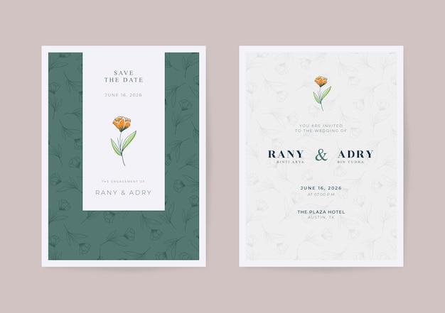 Belle carte de mariage simple avec motif de fleurs