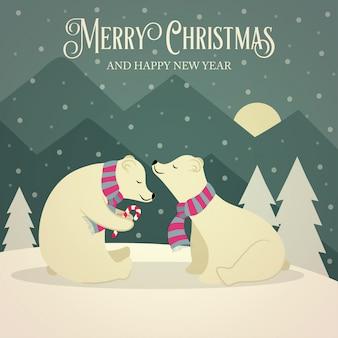 Belle carte de noël rétro avec couple d'ours polaires
